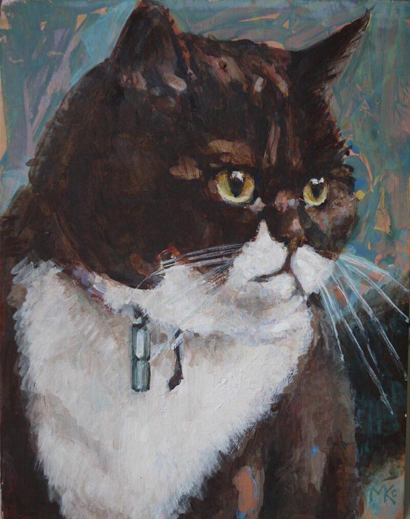 schilderij poezenportret olieverf