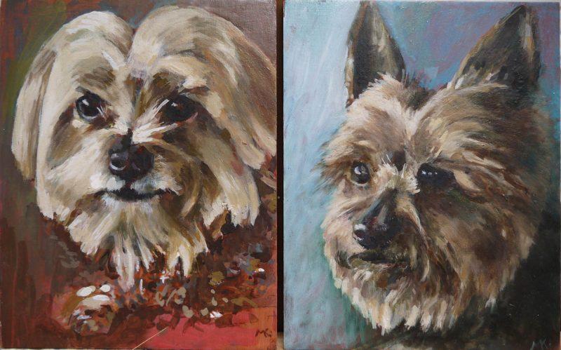 schilderij hondenportret olieverf