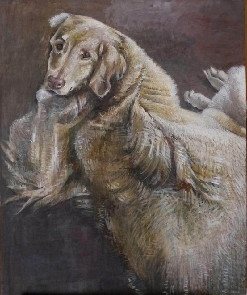 schilderij hond portret