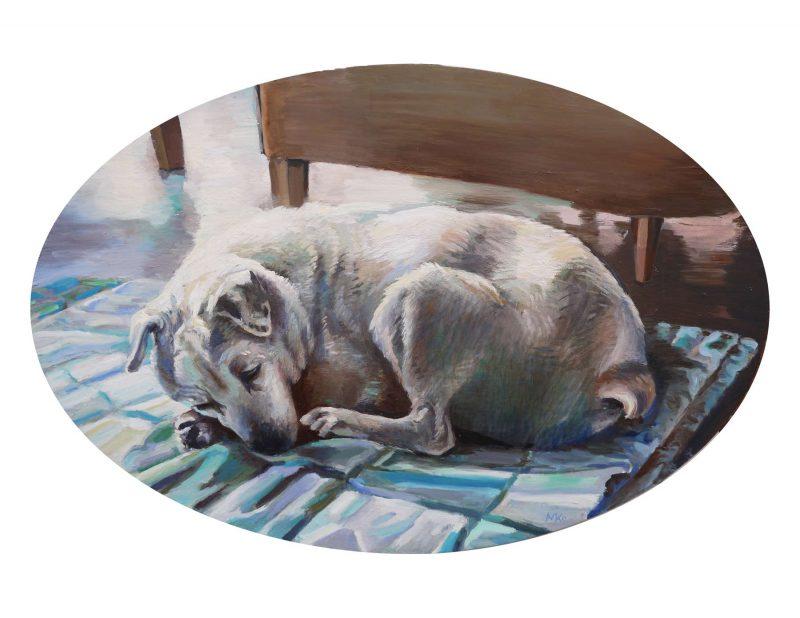 olieverf hondenportret